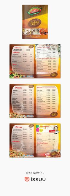 Menu Pizza Rustica 2012  Nuevo menu de Pizza Rustica 2012 que incluye nueva linea de productos Grill & Tex - Mex  PIZZA RUSTÍCA ofrece recetas tradicionales en pizzas y lasagnas con variedad de sabores como hawaiana, tropical, vegetariana, luna de miel, pollo, carne y mixtas. Cuenta con instalaciones adecuadas para compartir en familia. Parque infantil privado. Contamos con dos sedes. Una en villa carolina y otra en frente del parque venezuela.  Manejamos todo tipo de tamaño y tipo de masa… Menu Pizza, Pizza Rustica, Tex Mex, Carne, Wraps, Pizza, Pizza Menu, Playgrounds, Salads