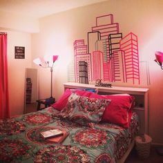 My sister made a city skyline with washi tape and now it's my headboard! - Imgur