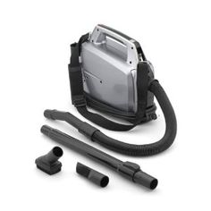 Canister vacuum by Hoover. Can be slung over shoulder and carried like a handbag. Makes vacuuming on stairs or while standing on a ladder much easier.