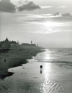 Scheveningen beach in 1957, Kees Scherer. Dutch (1920 - 1993) …and Summer has gone…