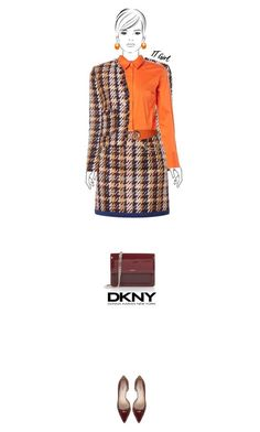 Office outfit: Burgundy - Orange by downtownblues on Polyvore #officewear  #tweed  #plaid  #shoulderbag #patentleather #LKBennett #DKNY #Benetton #Sandro
