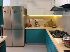 The blueish kitchen is made for requirement Beautiful Kitchen Designs, Beautiful Kitchens, Kitchen Cabinets, Furniture, Home Decor, Decoration Home, Room Decor, Kitchen Base Cabinets, Home Furnishings