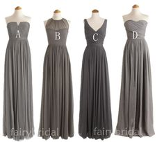 Charcoal grey bridesmaid dresses, long bridesmaid dresses, V- Neck/ Sweetheart / halter chiffon dress, one shoulder bridesmaid dress FB1104 on Etsy, $109.00
