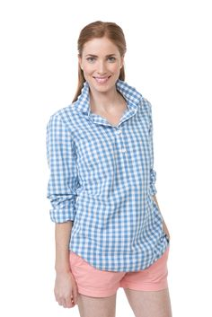 Gingham Brooks Popover - Bright Blue