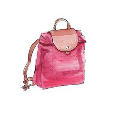 Good objects - Longchamp backpack watercolor illustration @longchamp #longchamp #lepilage #backpack #red #watercolour #illustration #goodobjects