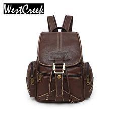 Westcreek Brand Women Backpack Vintage PU Soft Leather School Backpacks  Student Schoolbag Satchel Female Retro Backbag dc9647bd4b4f3