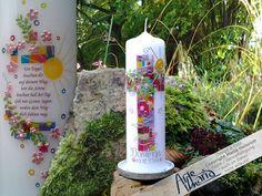"""ORIGINAL-Mosaik-Kerze""""Alle+deine+Farben""""★Sonne★Spr+von+arte-maria+auf+DaWanda.com"""