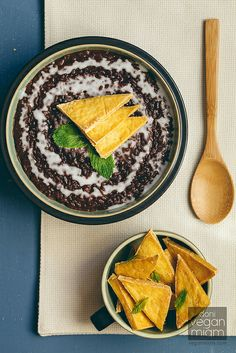 vegan champorado (filipino chocolate rice porridge) with salted tofu chips by veganmiam, via Flickr