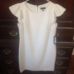 Brand New White Dress. Back Zipper Detail