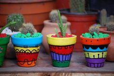 Macetas Pintadas A Mano Con Cactus