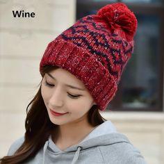 Stripe knit hats Hairball winter hats for women