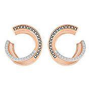 Hero Pierced Earrings, Grey, Rose gold plating