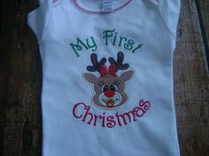 My First Christmas Infant gown by BibsandBurps on Etsy, $22.00
