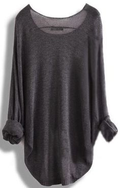 Gray Loose Batwing Sleeve Irregular Sweater $22.00