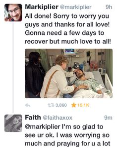 #prayformark markiplier has recently had to go to the hospital and just came out of surgery, being ok. I'm so glad I was praying and asking god to help recover him and have him go through surgery successful. I'm so glad...