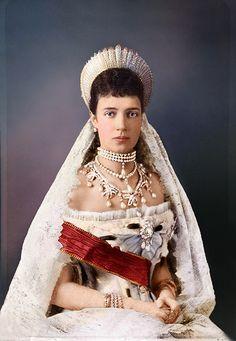 Princess Dagmar of Denmark on her wedding day to Tsar Alexander III, becoming Maria Feodorovna, Empress of all the Russias, 1866.