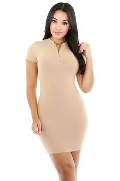 Front Zipper Solid Color Bodycon Mini Dress – Niobe Clothing