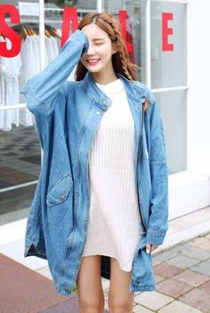 Ace Min Boxy Denim M Jacket   Korean Fashion