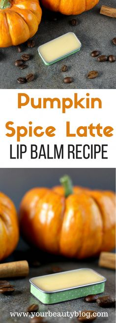 Make your own pumpkin spice latte lip balm with coffee infused oil. #BeautyTipsForHair Homemade Lip Balm, Diy Lip Balm, Homemade Moisturizer, Homemade Scrub, Diy Pumpkin, Pumpkin Spice Latte, Pumpkin Recipes, Lip Balm Recipes, Hygiene