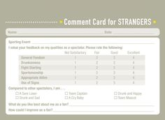 Would you like some professional feedback about your friendship performance? The new book Comment Cards for Life by Derek McCloud is here to help. [via neatorama] Previously: I Added Some Wine Recommendations to the Liquor Store by My House My Values, Personal Relationship, Liquor Store, Funny Videos, Comedians, New Books, Layouts, Relationships, Funny Pictures