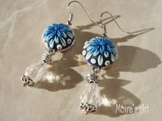 Flowers of ice Christmas dangling earrings polymer by MoirasArt