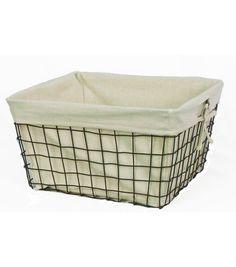 Organizing Essentials 16x14 Wire Basket with Ivory Liner