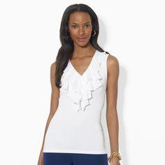 Ralph Lauren Ruffled Sleeveless V-Neck Top on shopstyle.com $20