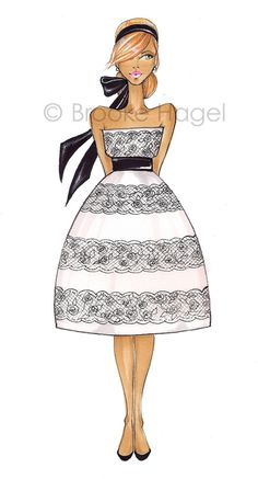 fashionillustration.quenalbertini: Fashion Art Audrey V by Brooke Hagel via Etsy