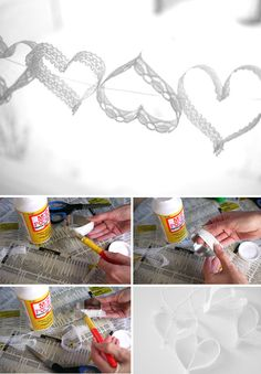 Lace heart garland.    Use mod podge to glue lace ribbon around a heart shaped cookie cutter. Let dry and hang up.