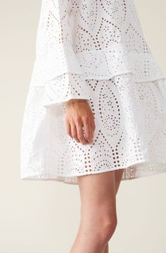 Broderie Anglaise Mini Dress, Bright White Short Lace Dress, Lace Skirt, Sequin Skirt, Short Dresses, Dress Outfits, Style Inspiration, Clothes For Women, Mini, Casual