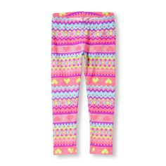 Girls Printed Leggings - Pink - The Children's Place