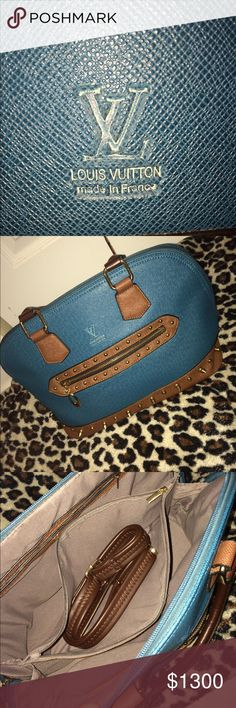 Louis Vuitton Satchel Bag Turquoise w/ brown lining and gold spike details  Comes with a strap Worn 3x Just sits in closet (been there for 3yrs now) Absolutely NOTHING wrong with it, I just don't wear it & rather give it away than to just let it sit in my closet or throw away🤷🏾♀️ Louis Vuitton Bags Satchels