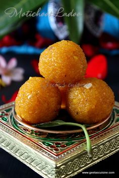 Motichoor ladoo is a delicious mouthwatering sweet which is famous in Northern part of India Ladoo is commonly offered to GOD during worship as well as served on festival. Indian Desserts, Indian Sweets, Indian Food Recipes, Punjabi Recipes, Navratri Recipes, Diwali Recipes, Arabic Sweets, Brownie Desserts, Sweets Recipes