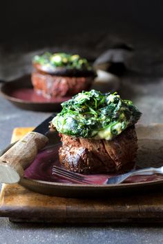 "This ""over-the-top"" Beef Tenderloin Fillets with Spinach Cambozola Stuffed Portobello Mushrooms and Red Wine Sauce is entree and side dish all in one. via Pork Fillet) Fillet Steak Recipes, Beef Tenderloin Recipes, Meat Recipes, Cooking Recipes, Stuffed Beef Tenderloin, Game Recipes, Pork Roast, Roast Gravy, Braai Recipes"