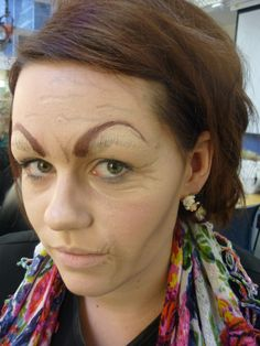 ageing stage makeup  removed eyebrows