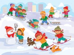 Buy Vector Illustration of Little Children Playing by vectorpocket on GraphicRiver. Vector winter illustration of small children mold snowmen, playing snowballs, sledding and skiing
