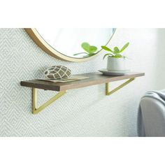Wall Shelf with Polished Brass Brackets - Medium - Threshold™ : Target Wood Shelf Brackets, Wooden Wall Shelves, Walnut Shelves, White Shelves, Metal Homes, Display Shelves, Polished Brass, Accent Decor, Home Accessories