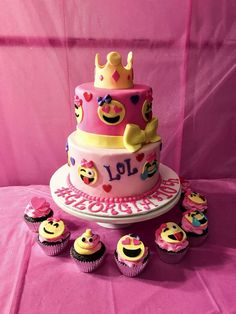 What a fun Emoji Birthday Cake!!! Just look at the cute cupcakes!! See more party ideas and share yours at CatchMyParty.com
