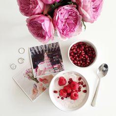 pomegranate + raspberry yogurt bowl (via @thepinkdiary)