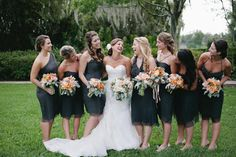 bridesmaids dresses in grey by http://www.amsale.com/  Photography by pinkhedgehogphotos.com