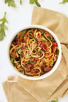 Creamy BLT Zucchini Pasta Make goat cheese sauce, add caramelized onions, spinach instead of arugula.