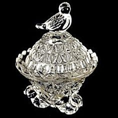 Hofbauer Crystal Trinket Box with Bird Finial