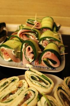 fit przekąski Party Snacks, Zucchini, Sushi, Lunch Box, Food And Drink, Healthy Recipes, Healthy Food, Vegetables, Cooking