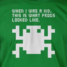 Retro Arcade Video Game Frog Pixel Frog Tshirt T-Shirt Tee Shirt Mens Womens Ladies Youth Kids Geek Funny. $14.99, via Etsy.