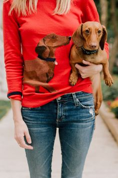 """My Outfit: Dachshund Sweater / Suede Booties / Navy Blazer / Leather Bag Mitch's Outfit: Button-Down / Tweed Blazer / Jeans / Boots Emma's Outfit: Quilted Jacket (In pink here; Smaller navy sizes here.) / Jean Leggings (All c/o Joules) Use code """"NOODLE20"""""""