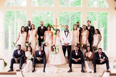 We had some fun placing the bridal party at the Moore Wedding to make for a uniquely posed bunch. There was so much style we wanted everyone to be see. Wedding Picture Poses, Wedding Poses, Wedding Suits, Wedding Pictures, Bridal Party Poses, Bridesmaid Pictures, Wedding Shoot, Wedding Attire, Black Bridal Parties