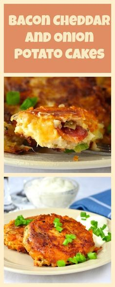 Bacon Cheddar and Onion Potato Cakes - These incredible side dish or appetizer potato cakes are maybe the best use of leftover mashed potatoes yet. Great for weekend brunch too
