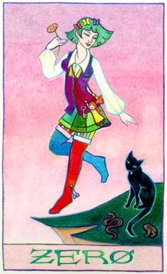 Zero, or the Fool, a Tarot Card by Thalia Took--Tarot Air element Card Wicca Witch Pagan Art Cards Tarot Art wicca art wiccan graphics taro tarot cards
