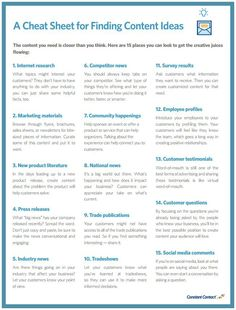 If you're not excited about the content you're creating, it's unlikely that the people seeing it will be inspired to take action.  The good news is that there are tons of sources of content inspiration that you can tap into throughout the fall months.  Check out the cheat sheet below for tons of new content ideas: