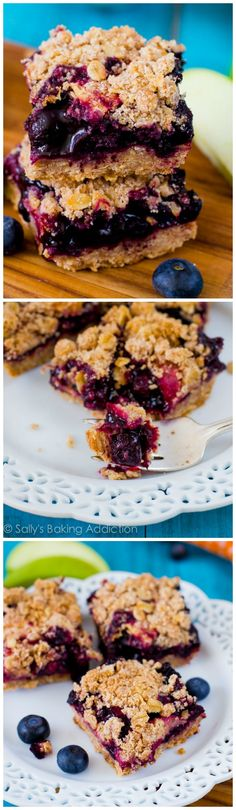 Blueberry Pie Bars ~ without the hassle of making a homemade pie crust! You will love the juicy blueberries and streusel topping.